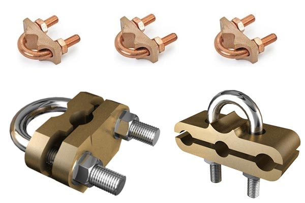 Copper u bolt clamps bolts rod to earthing
